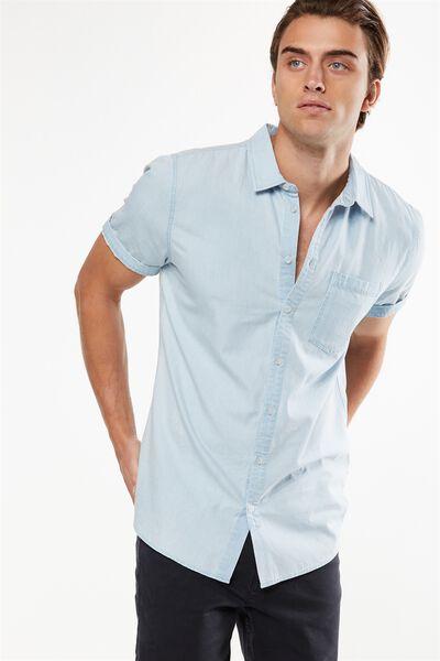 91 Short Sleeve Shirt, LIGHT BLUE ACID DENIM