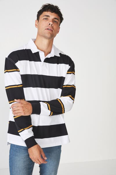Rugby Polo, BLACK WHITE BOLD STRIPE