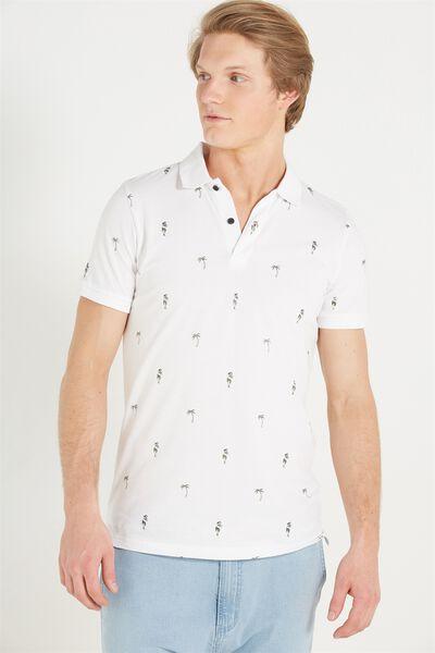 Short Sleeve Prep Polo Slim Fit, WHITE