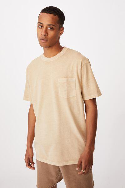 Washed Pocket T-Shirt, CLAY STONE