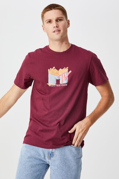 Tbar Collab Pop Culture T-Shirt, LCN MTV BURGUNDY/MTV - FRIES LOGO