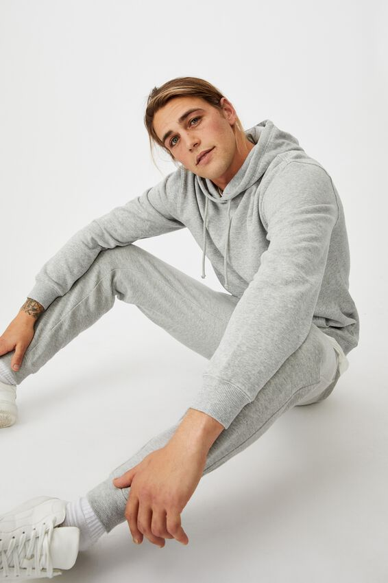 Essential Fleece Pullover, LIGHT GREY MARLE