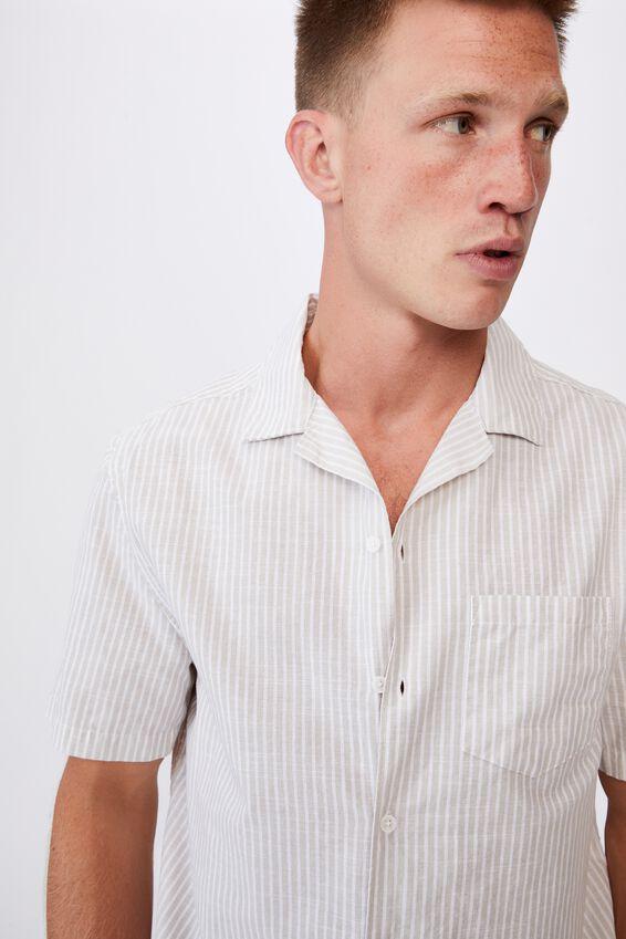 Textured Short Sleeve Shirt, NATURAL WHITE STRIPE