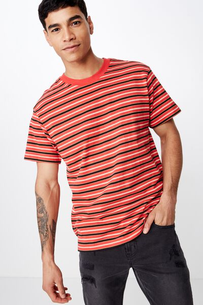 Dylan Tee, RED/SAUTERNE YELLOW/BLACK/VINTAGE WHITE STRIPE
