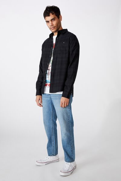 Rugged Long Sleeve Shirt, BLACK CHECK