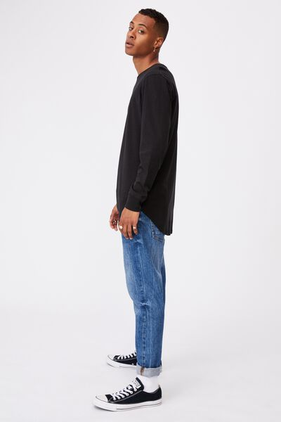 Longline Scoop Long Sleeve T-Shirt, BLACK