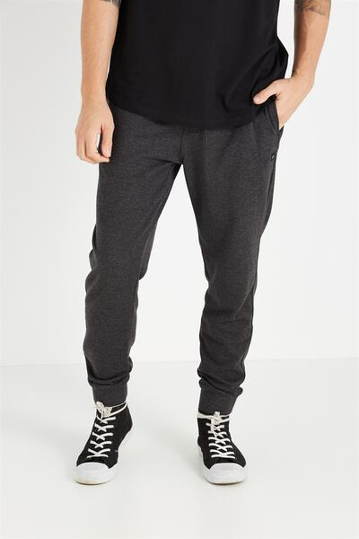 Customised Slouch Trackie, CHARCOAL/BLACK MARLE #26