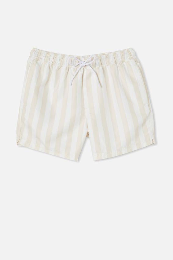 Swim Short, WHITE ECRU BOLD STRIPE