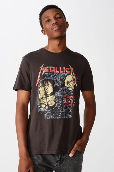 Tbar Collab Music T-Shirt, LCN PRO WASHED BLACK/METALLICA - HAMMER