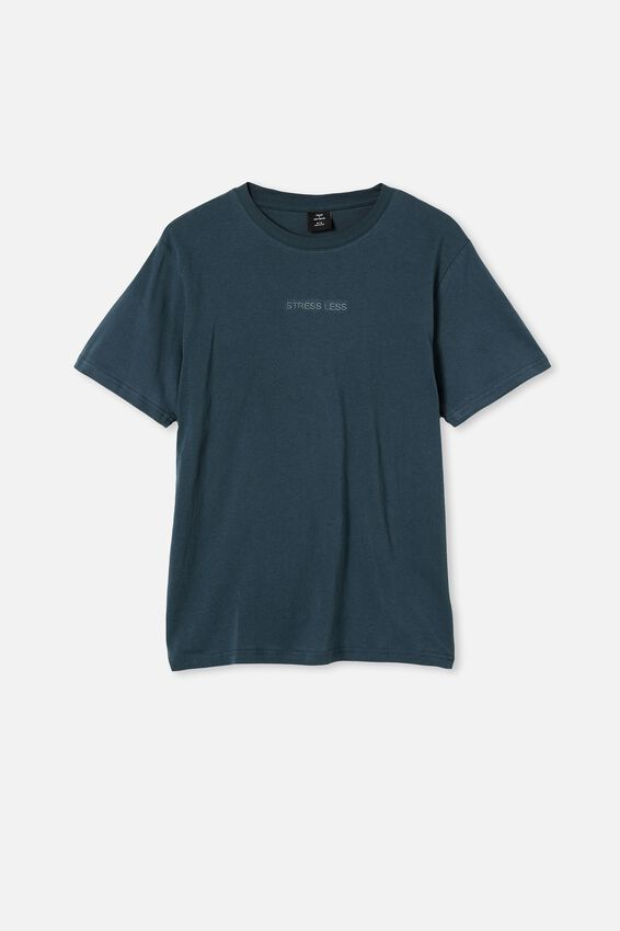 Tbar Text T-Shirt, OCEAN TEAL/STRESS LESS