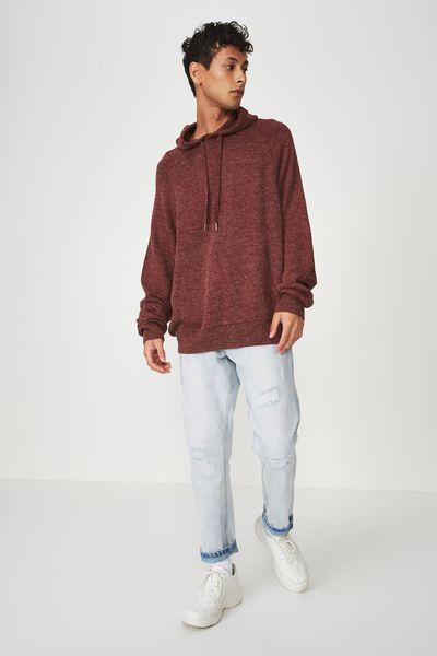 Hooded Sweater Knit, MERLOT MARLE