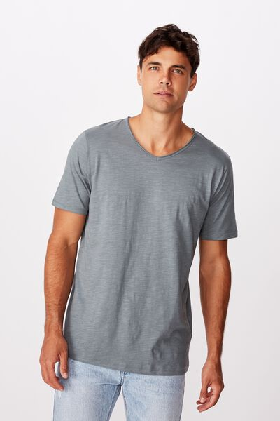 Slub V Neck Tee, SMOKEY TEAL