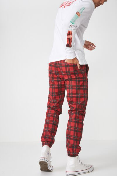 Drake Cuffed Pant, RED CHECK PRINT