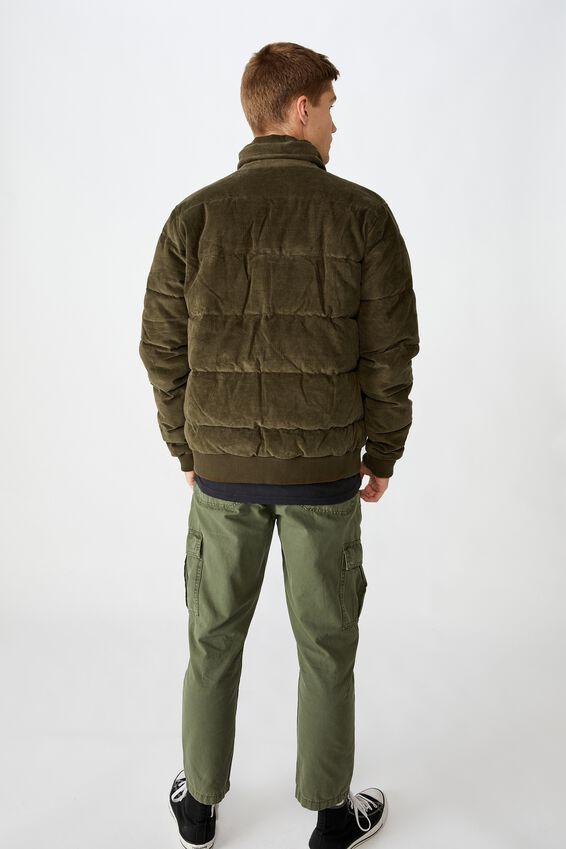 Cord Puffer Jacket, KHAKI