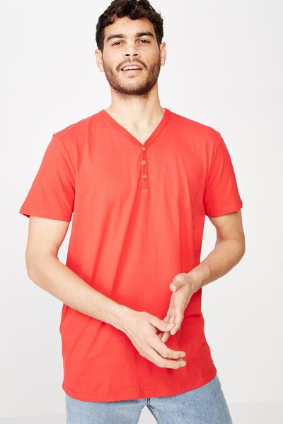 Essential Henley, STRONG RED