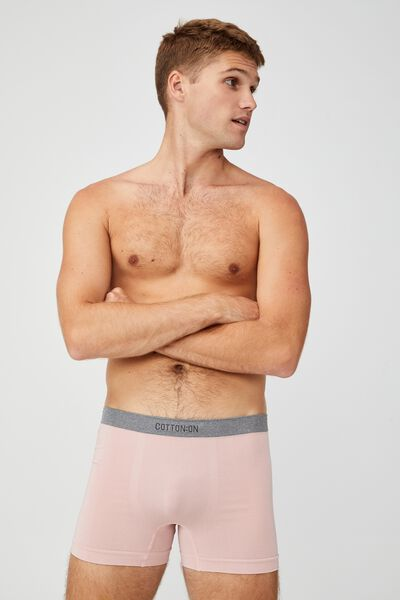 Mens Seamless Trunks, DIRTY PINK/GREY MARLE