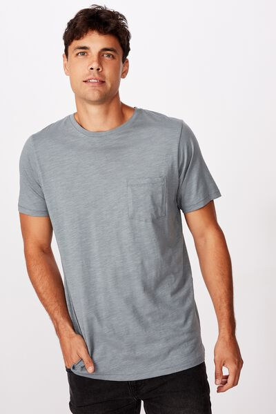 Slub Crew Neck Tee, SMOKEY TEAL