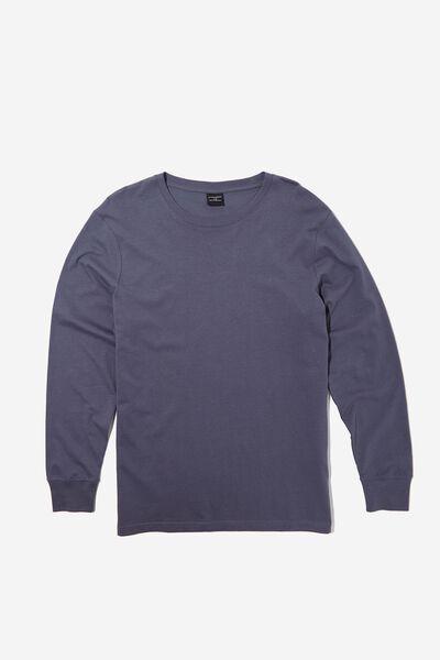 Organic Sleep Jersey Long Sleeve T-Shirt, DUSTY DENIM
