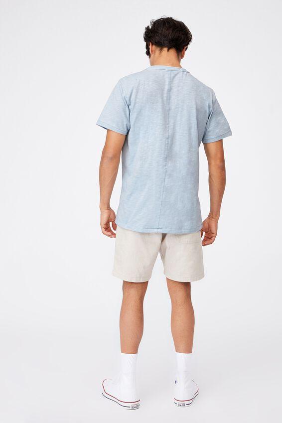 Slub Henley T-Shirt, BLUE CLOUD