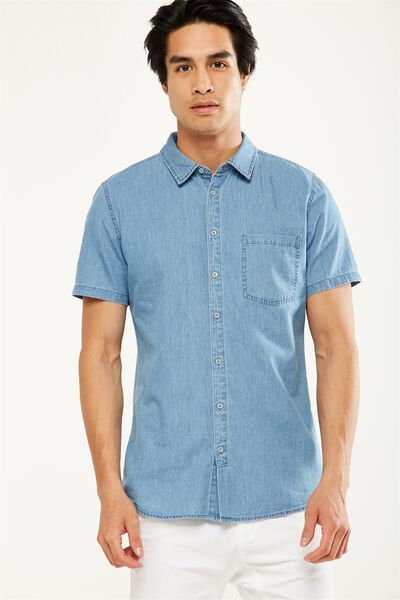 91 Short Sleeve Shirt, MID BLUE CHAMBRAY