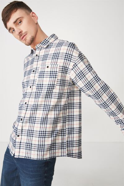 Rugged Long Sleeve Shirt, WHITE BLACK CHECK