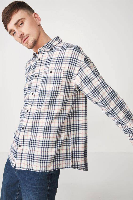 Rugged Long Sleeve Shirt, WHITE BLACK CHECK