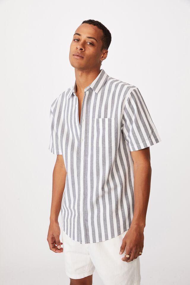 Vintage Prep Short Sleeve Shirt, INK BOLD STRIPE
