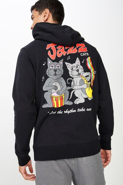 Fleece Pullover 2, WASHED BLACK/JAZZ CATS