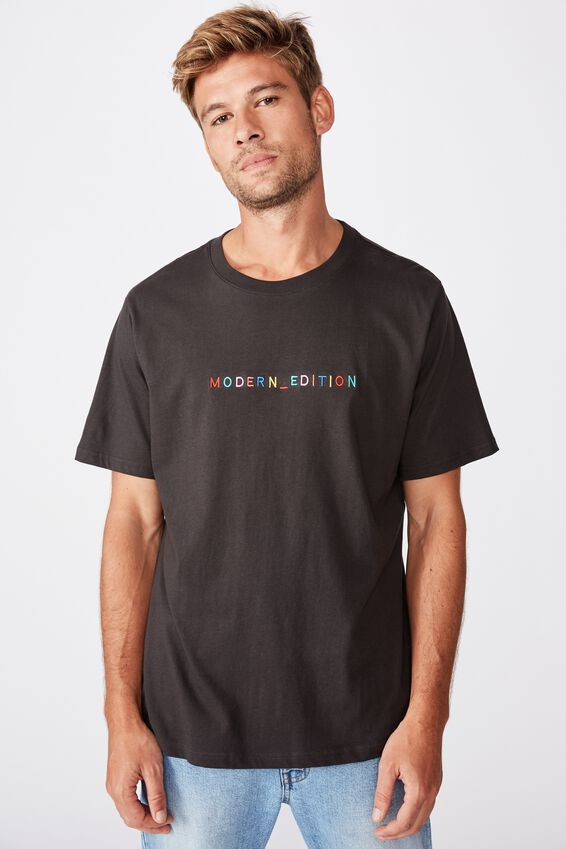 Tbar Text T-Shirt, WASHED BLACK/MODERN EDITION EMB