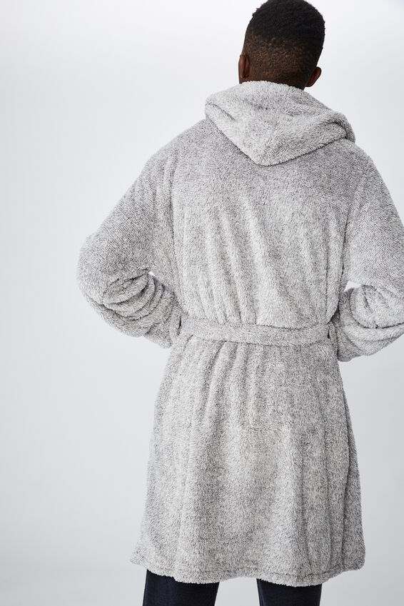 Mens Plush Gown, LIGHT GREY MARLE
