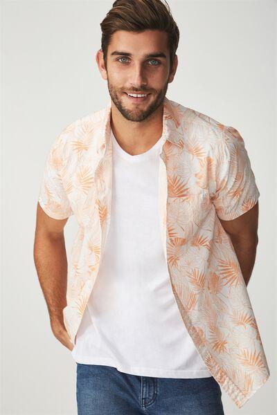 Vintage Prep Short Sleeve Shirt, PEACH UNIVERSAL LEAF