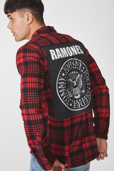 Rugged Long Sleeve Collaboration Shirt, RED CHECK/RAMONES