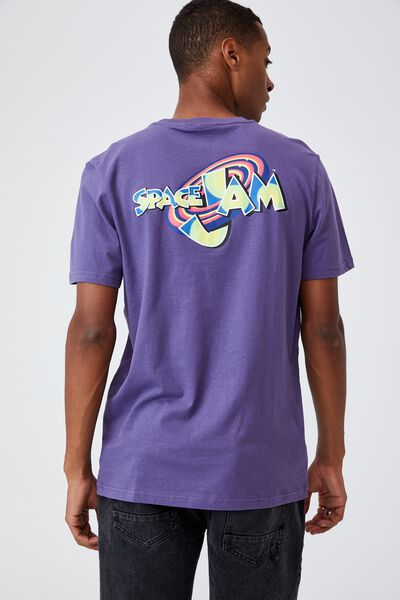 Tbar Collab Movie And Tv T-Shirt, LCN WB GRAPE/SPACE JAM - NEON LOGO