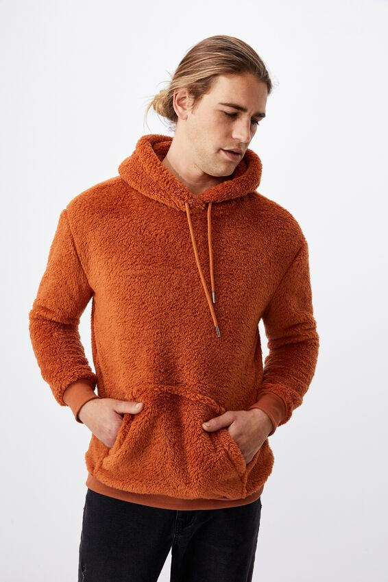 Drop Shoulder Teddy Fleece Hood, RUSSET