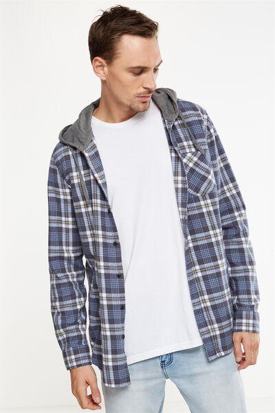 Rugged Hooded Shirt, INDIGO YELLOW CHECK