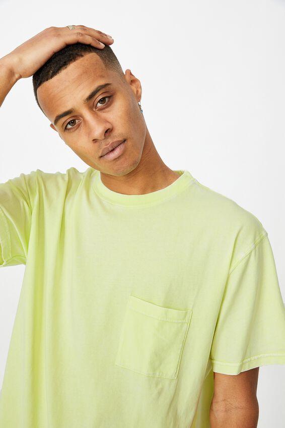 Washed Pocket T-Shirt, STROBE YELLOW