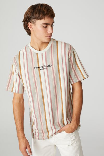 Downtown T-Shirt, IVORY MIXED STRIPE
