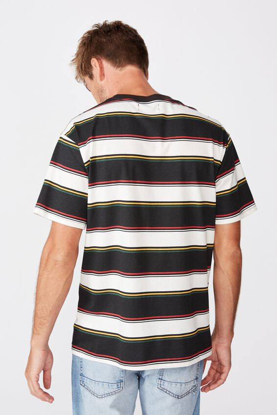 Downtown Loose Fit Tee, BLACK MIXED STRIPE