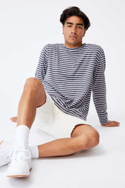 Brunswick Stripe Long Sleeve T-Shirt, LATE NIGHT BLUE MARLE/WHITE MARLE SIMPLE STRI