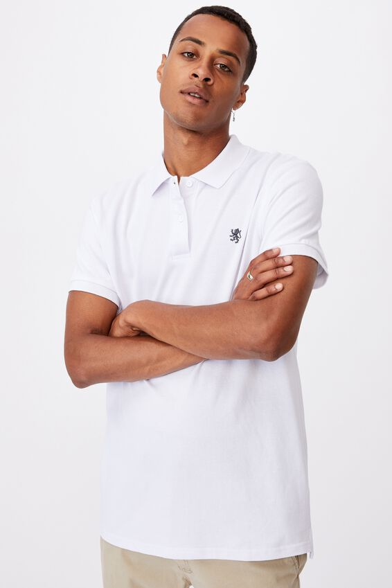Essential Short Sleeve Polo, WHITE