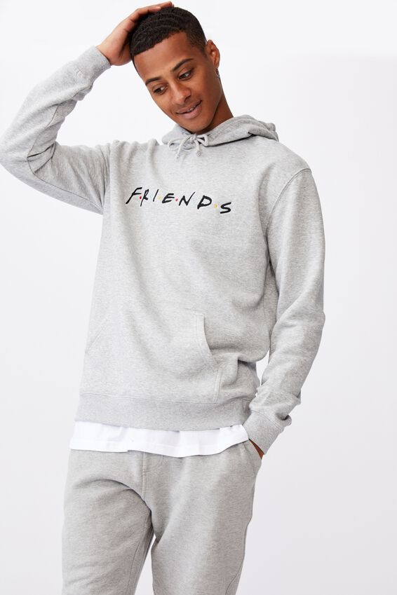 Collab Fleece Pullover, LCN WAR LIGHT GREY MARLE/FRIENDS LOGO
