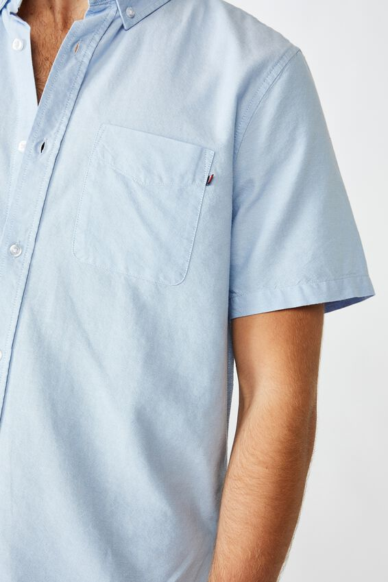 Vintage Prep Short Sleeve Shirt, SKY BLUE OXFORD
