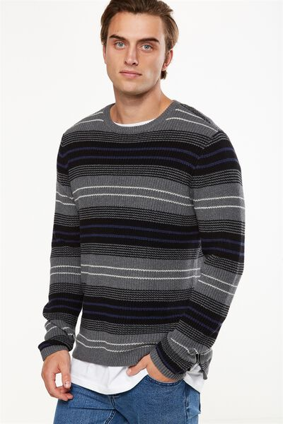 Split Hem Knit, CHARCOAL BLANKET STRIPE