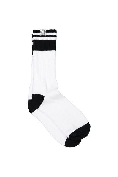 Bball Long Socks, WHITE/BLACK