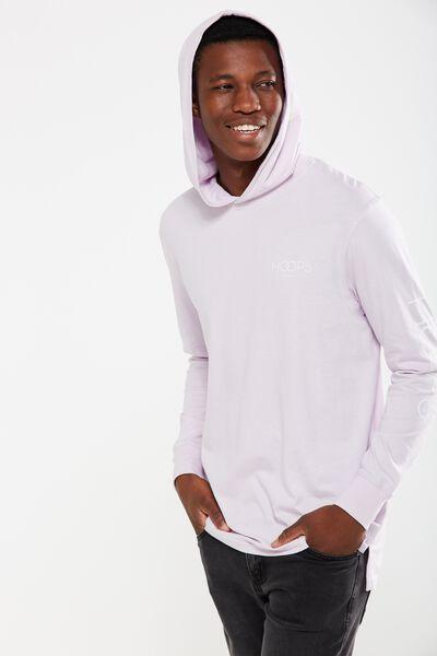 Hooded Long Sleeve, LAVENDER/HOOPS
