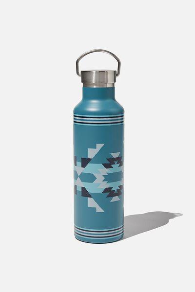 Metal Drink Bottle, TEAL IKAT