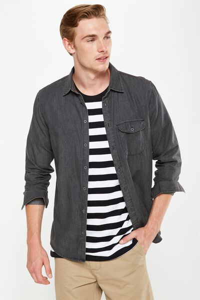 Brunswick Shirt 3, BLACK CHAMBRAY