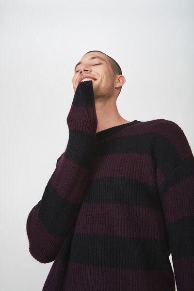Box Crew Knit, BURGUNDY CHARCOAL STRIPE