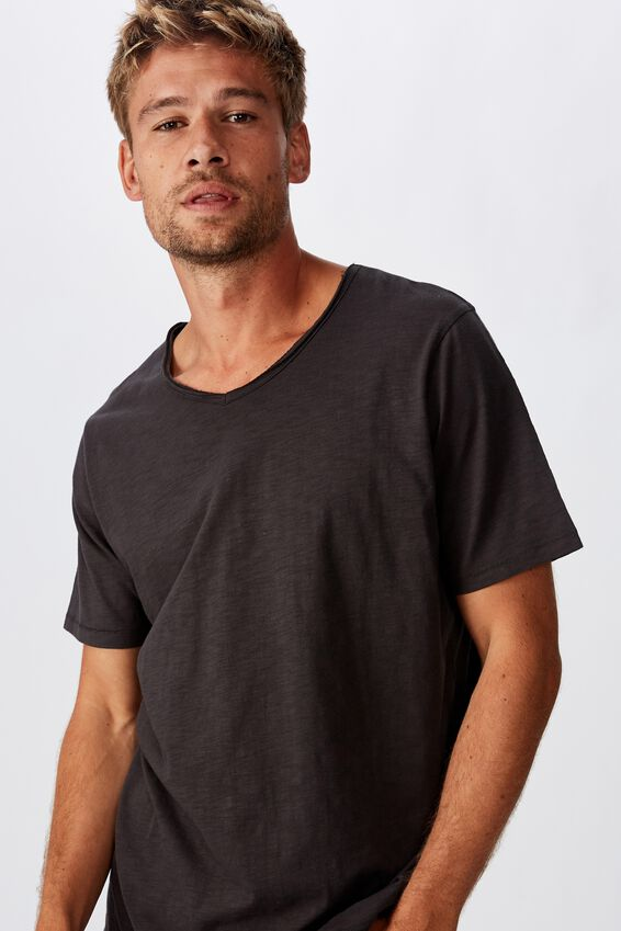 Slub V Neck Tee, WASHED BLACK