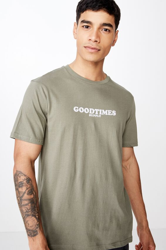 Tbar Art T-Shirt, BUSH GREEN/GOODTIMES SUPPLY